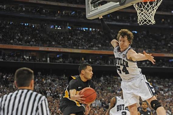 Butler star Matt Howard denies VCU's Joey Rodriguez's inbound pass. - SCOTT ELMQUIST