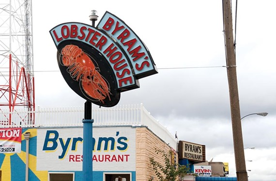 Byram's famed lobster sign, last seen on West Broad Street, is still missing. - SCOTT ELMQUIST