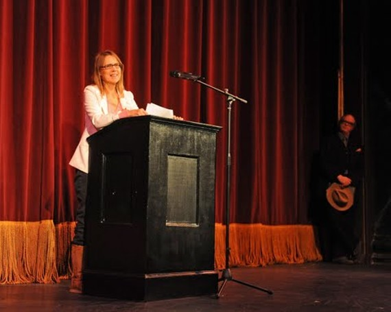 Carol Piersol speaks to a crowd of about 250 supporters at the November Theatre Saturday. - BY SCOTT ELMQUIST