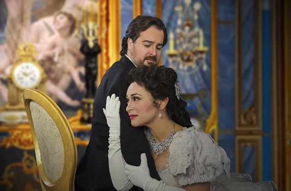 "Cecilia Lopez as Violetta and Rolando Sanz as Alfredo in ""La Traviata,"" based on a play adapted from a novel by Alexandre Dumas the younger."