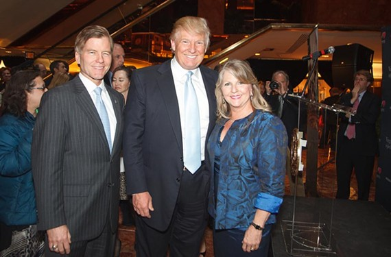 Cheese to go: Gov. Bob and Maureen McDonnell flank Donald Trump for a showcase of Virginia food and wine, film and tourism at the Trump Tower in Manhattan April 10. - VIRGINIA TOURISM CORPORATION