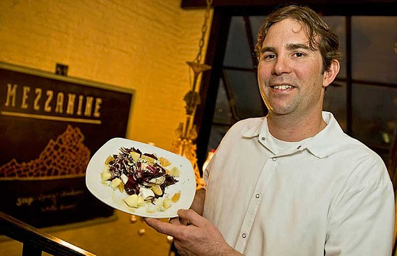 Chef Todd Johnson, now sole proprietor of the Carytown local-foods favorite Mezzanine, introduces a grilled radicchio salad with orange glaze and other new menu items at the two-level restaurant with heated patio. - ASH DANIEL