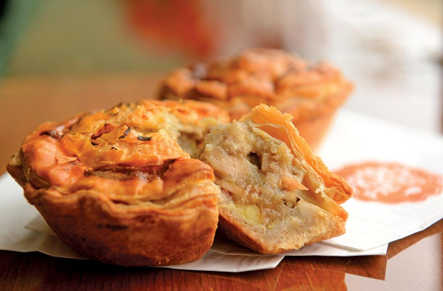 Chicken and kumara pie in a buttery crust is one of the staples on Proper Pie Co.'s changing menu. Kumara is a sweet potato and often used in New Zealand cooking. - SCOTT ELMQUIST
