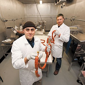 Chris Mattera and Brad Hemp, owners of the new business SausageCraft, say the timing is right and the wholesale market ready for artisanal sausages and other meat specialties produced in their Dabney Road headquarters.