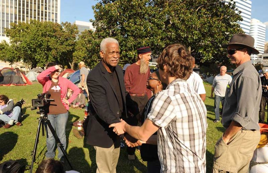 City Councilman Marty Jewell, who spoke to Occupy Richmond protesters at Kanawha Plaza in October, is pushing the city to allow for encampments there. - SCOTT ELMQUIST