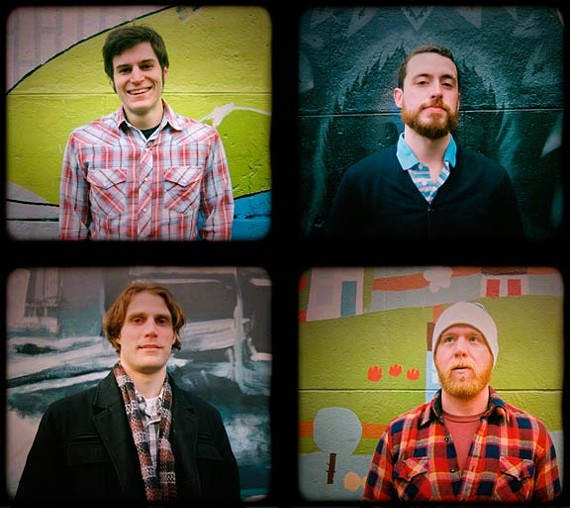 Clockwise from top left: Matt Cowan, Evan Hoffman, Chris Damon and Will Weaver make up Good Day RVA, a group that's making popular music videos of local artists in various Richmond locations.