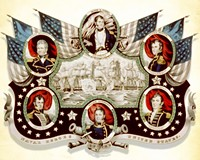 Clockwise from top: Oliver Perry, Stephen Decatur, Isaac Hull, William Bainbridge, David Porter and Thomas MacDonough.