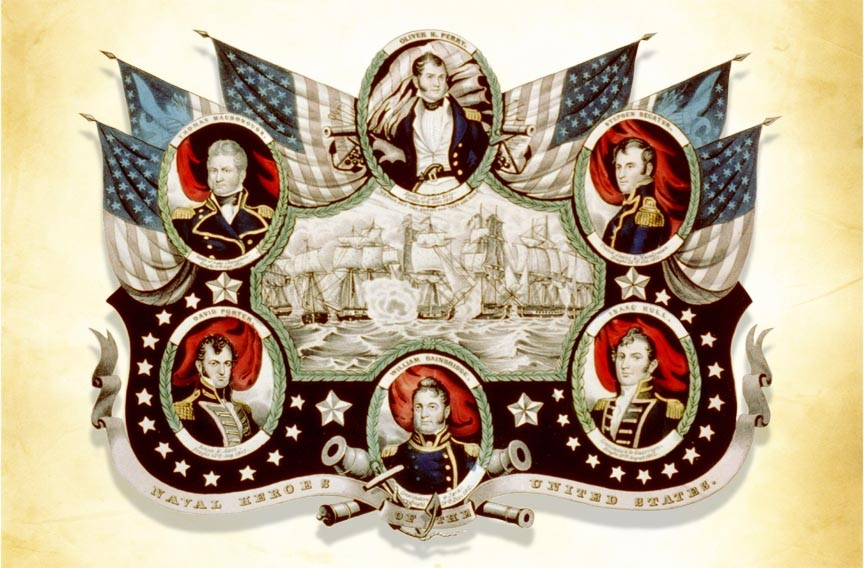 Clockwise from top: Oliver Perry, Stephen Decatur, Isaac Hull, William Bainbridge, David Porter and Thomas MacDonough. - LIBRARY OF CONGRESS