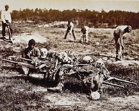 Cold Harbor, Va., in April 1865. African-Americans are collecting the bones of soldiers killed in the Battle of Cold Harbor the year before.