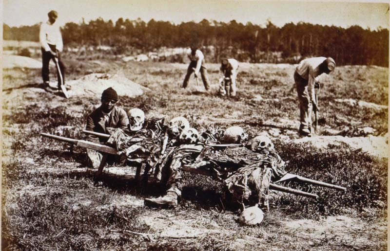 Cold Harbor, Va., in April 1865. African-Americans are collecting the bones of soldiers killed in the Battle of Cold Harbor the year before. - LIBRARY OF CONGRESS