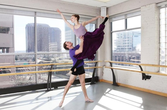 "Company dancer Phillip Skaggs and principal dancer Lauren Fagone rehearse for Richmond Ballet's version of ""Don Quixote."" Thanks to their profession, the dancers were able to understand the code of chivalry from the 400-year-old novel."