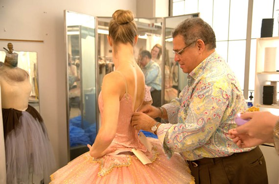 "Costume designer David Heuvel fits dancer Valerie Tellmann in her new Sugar Plum Fairy tutu. The new tutu is the main change in this year's ""Nutcracker"" performed by the Richmond Ballet from Dec. 19 to 28."