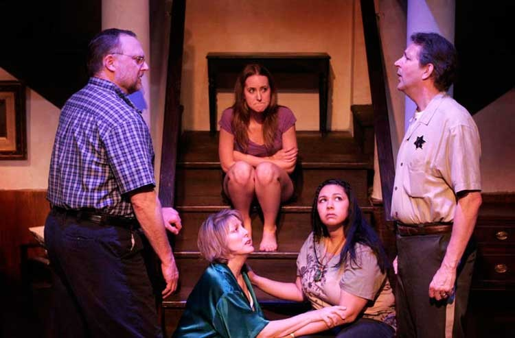 """County lyin': From left, David Bridgewater, Melissa Johnston Price, Karen Stanley, Carolyn Meade and Eric Williams co-star in """"August: Osage County."""" - JAY PAUL"""