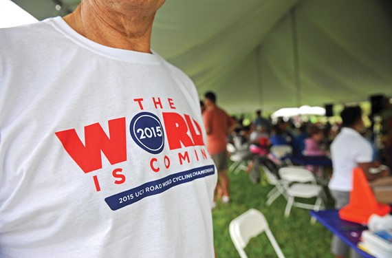 Cycling enthusiasts gather at West Creek Business Park on Sept. 8 for casual rides and barbecue, and to help kick-start fundraising for the 2015 UCI Road World Championships. - SCOTT ELMQUIST