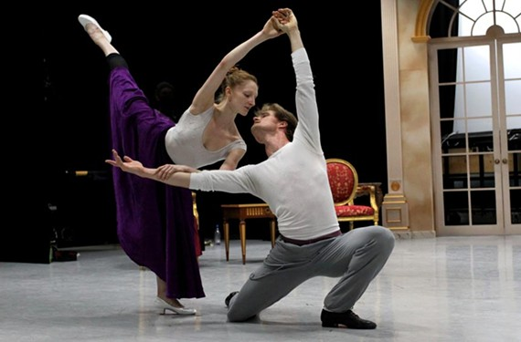"Dancers Lauren Fagone and Phillip Skaggs, who is retiring after this performance, in rehearsal for ""Liebeslieder Walzer"" with choreography by George Balanchine."