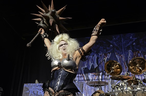 Danielle Stampe, aka Slymenstra Hymen, rejoined the band onstage at Gwar B-Q. She was visiting from Los Angeles, where she designs sets for the likes of Lady Gaga, Nicki Minaj and Katy Perry. - SCOTT ELMQUIST