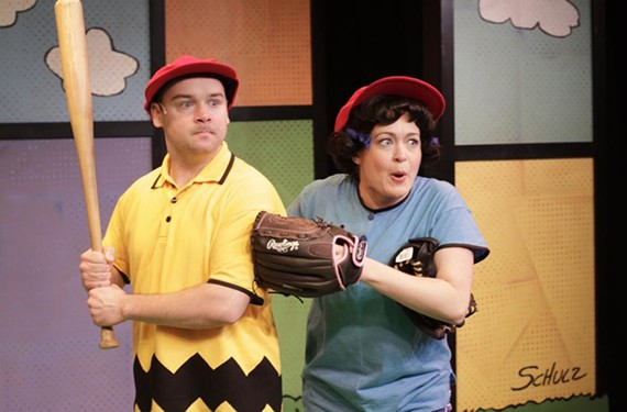 """David Janeski as the """"loser you can't help loving,"""" Charlie Brown, and Ally Wepplo as the """"bully you can't manage to hate,"""" Lucy, in Virginia Repertory Theatre's """"You're a Good Man, Charlie Brown"""" at Hanover Tavern."""