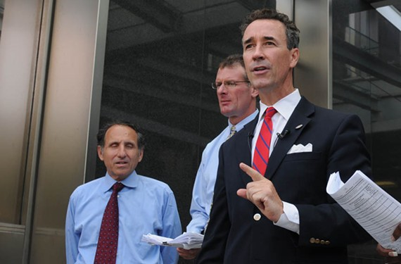 Delegate Joe Morrissey (right) with disqualified mayoral candidate Michael Ryan and law partner Paul Goldman outside of City Hall last month. - SCOTT ELMQUIST