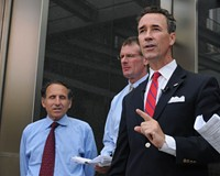 Delegate Joe Morrissey (right) with disqualified mayoral candidate Michael Ryan and law partner Paul Goldman outside of City Hall last month.