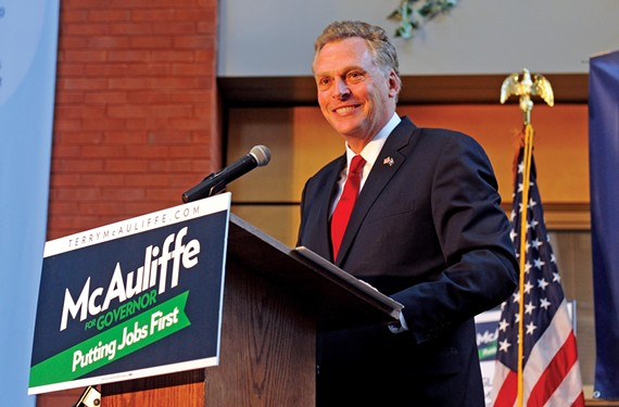 Democrat Terry McAuliffe launches his successful gubernatorial campaign in May at the Virginia Biotechnology Research Park. He won 47.75 percent of the vote, defeating Republican rival Ken Cuccinelli.