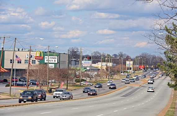 Despite regional strains, Richmond and Chesterfield County continue to work on plan to improve a 4.7-mile stretch of Hull Street Road, starting at Southside Plaza. - SCOTT ELMQUIST