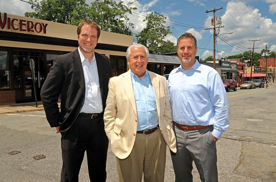 "Developer Bedros Bandazian, center, with colleagues Nathan Hughes and Raffi Bandazian, suggests rechristening the Devil's Triangle as ""The Shoppes at Park and Sheppard."" Readers aren't biting. - SCOTT ELMQUIST"