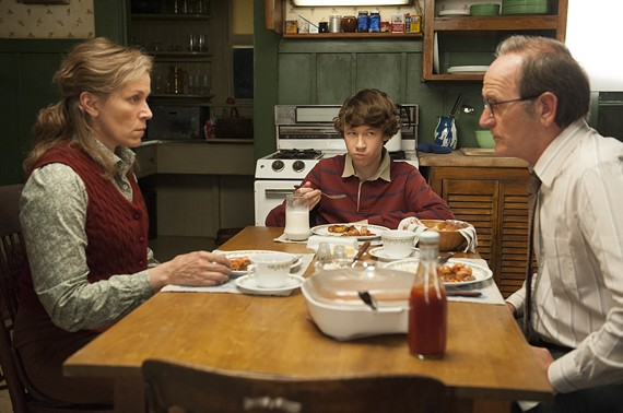 "Devin Druid (center) in a scene with veteran actors Frances McDormand and Richard Jenkins from the HBO miniseries ""Olive Kitteridge."""