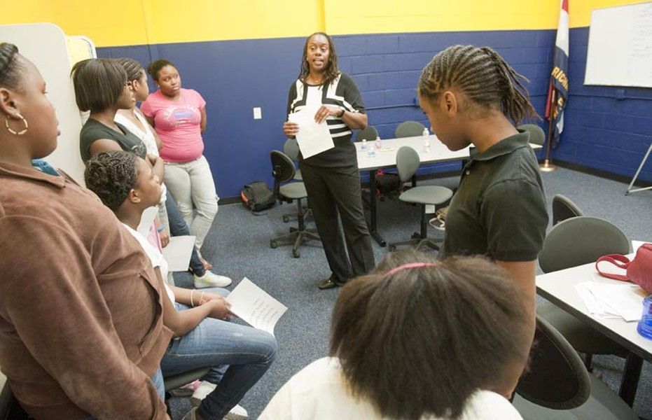 Domestic violence isn't age specific. Richmond Police Department Detective Tish Edmonds tries to get that point across during a presentation on dating violence for young participants in the Police Athletic League. - SCOTT ELMQUIST