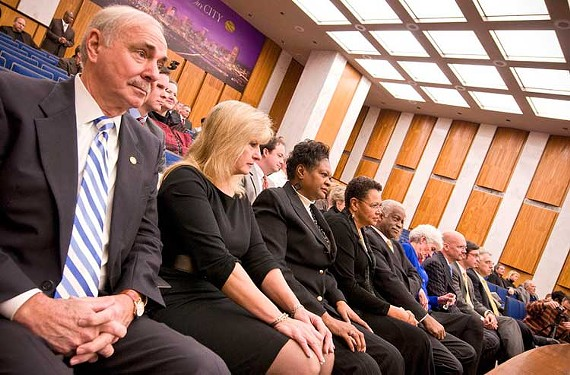Doug Conner sits with other members at City Council's swearing-in ceremony in January 2009. - SCOTT ELMQUIST