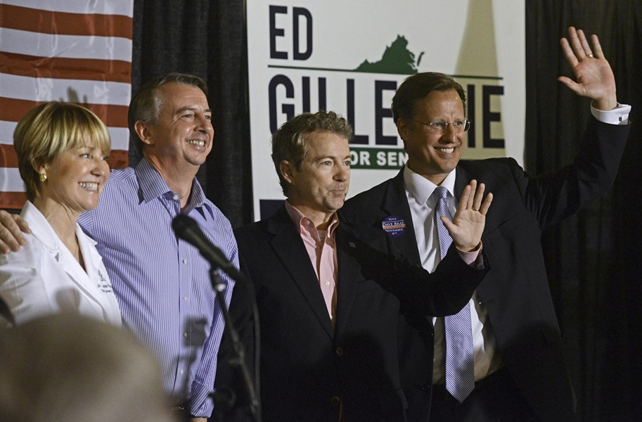Dr. Suzanne Everhart, Republican Senate candidate Ed Gillespie, Sen. Rand Paul and Dave Brat greet supporters, below, at an October rally in Ashland. - SCOTT ELMQUIST