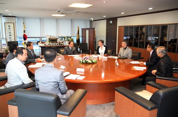 Dreiling meets with members of the Korea Institute of Registered Architects in September. - HELENE COMBS DREILING