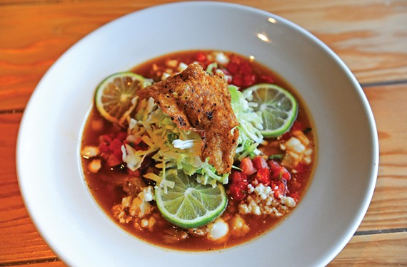 Duck confit pozole at Estilo is rich, flavorful and just right for the weather. Estilo is the second project of Jessica and Josh Bufford, who also own Toast in the Village Shopping Center.