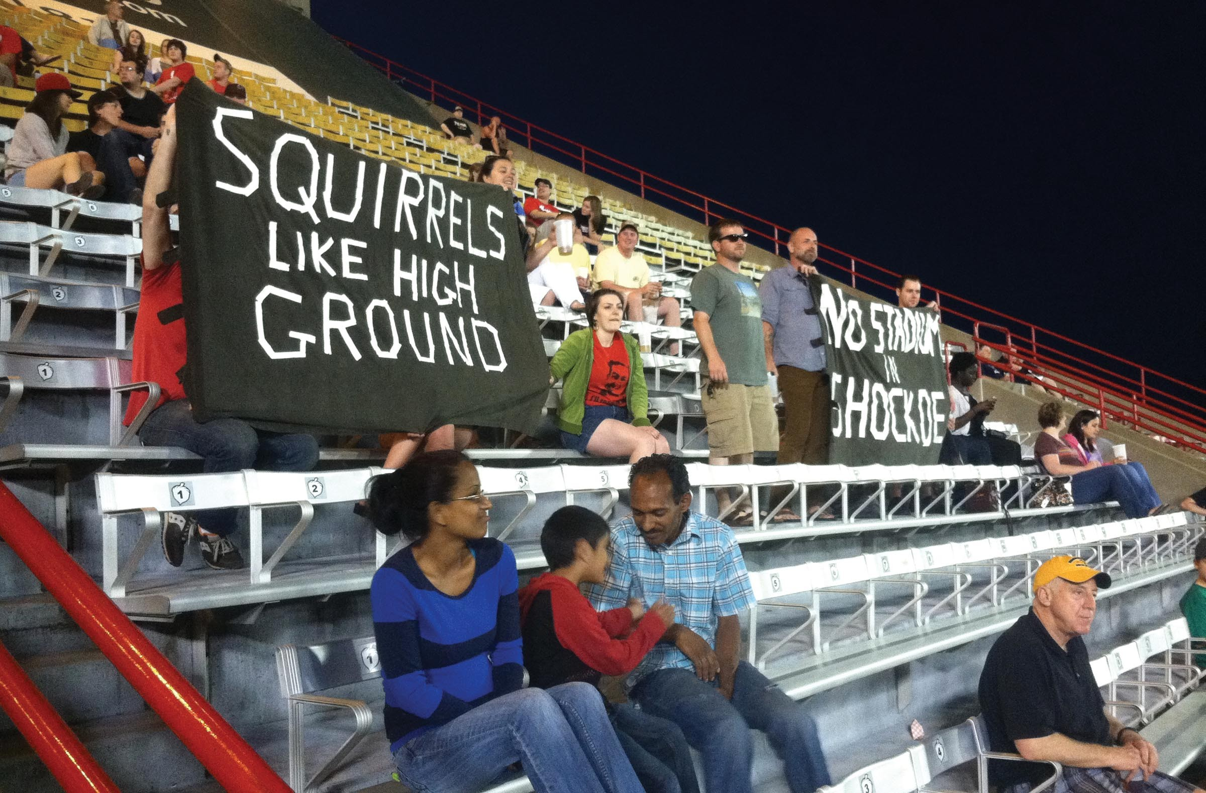 During baseball season, Richmond Flying Squirrels games at The Diamond were targeted by protesters who oppose any plan to move the team to Shockoe Bottom. - NED OLIVER