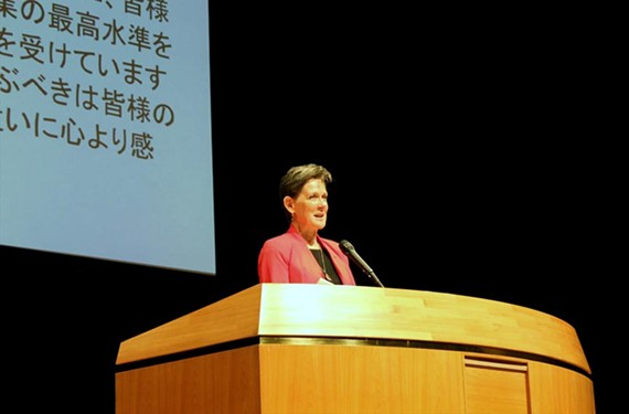 During her one-year term as president of the AIA, Helene Dreiling has traveled extensively. In September she addressed the Japan Institute of Architects. - HELENE COMBS DREILING