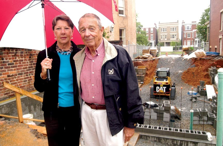 E. Morgan Massey and his wife, Joan, at their Monument Avenue home site in 2005. - SCOTT ELMQUIST