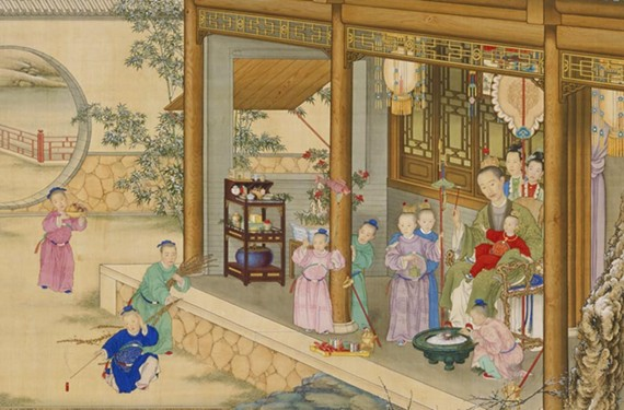 """Emperor Qianlong Celebrating the New Year,"" an 18th-century scroll, depicts a hierarchal domestic scene as does a 1700s painting of the Payne household in the VMFA American collection (below)."
