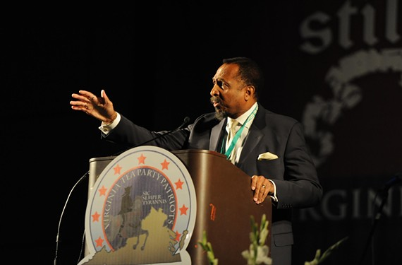 E.W. Jackson addresses the Virginia Tea Party Patriots at a convention in Richmond in October 2010. - SCOTT ELMQUIST