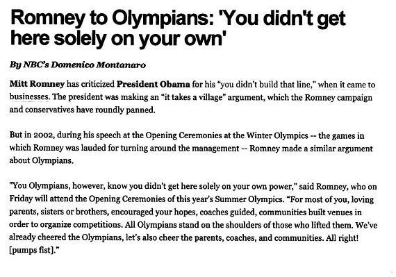 Excerpt from transcript of Mitt Romney's Speech to 2002 Olympic athletes.