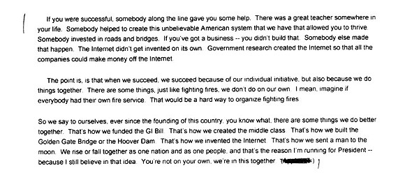 Excerpt from transcript of President Obama's speech in Roanoke.
