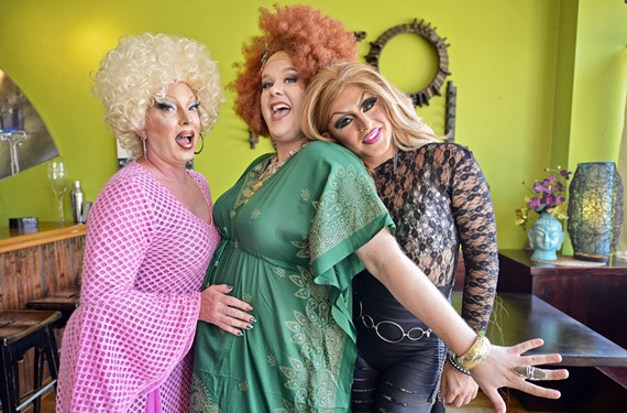 Family photo: Candy Pantz, Magnolia Jackson Pickett Burnside and Michelle Livigne CuzimEdgy, during a recent drag brunch performance at Wabi Sabi in Petersburg.