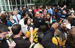 Fans mob Shaka Smart during an appreciation rally at the James Center downtown April 12, after the Rams returned from the Final Four in Houston.