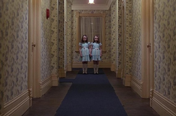 """Film geeks will love the cult theories buried in director Stanley Kubrick's horror masterpiece, """"The Shining,"""" including a kiss-off to writer Stephen King when we briefly see a crushed red Volkswagen Beetle (King's car)."""