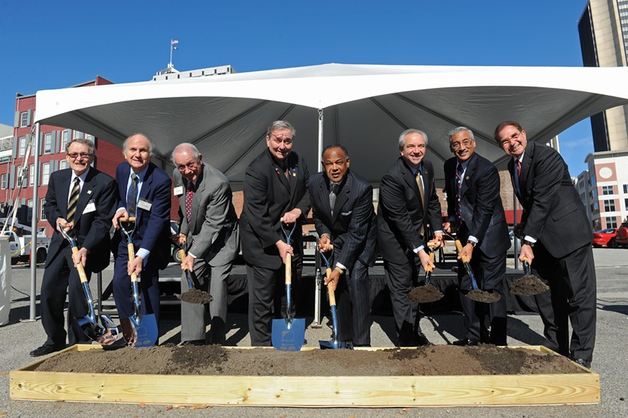 First Freedom Center board members Tommy Baer, Dick Howard and Ben Howerton join state Delegate John O'Bannon, Mayor Dwight Jones, Lt. Gov. Bill Bolling, U.S. Rep. Bobby Scott and Apple REITs CEO Glade Knight at the Nov. 8 groundbreaking at 14th and Cary streets. - SCOTT ELMQUIST