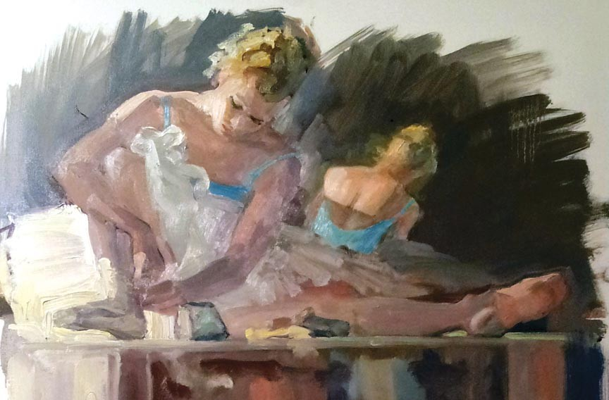 "Five local artists painted the graceful Richmond Ballet dancers offstage in works like Tom Wise's ""Putting on Shoes""."