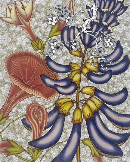"""Flowers that never would share a garden bed are intertwined in Nancy Blum's """"Morning."""""""