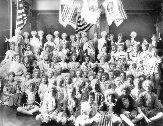 For a February 1903 George Washington birthday celebration, Gay Montague, daughter of Gov. Andrew Jackson Montague, and other young guests don 18th century costumes. Meanwhile, uninvited local boys made off with a large stash of ice cream being kept cold in the front yard. - LIBRARY OF VIRGINIA