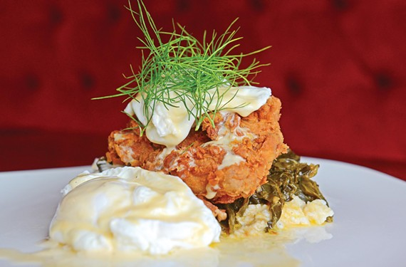 For Sunday brunch at the Magpie in Carver, chef Owen Lane prepares luscious specials such as chicken-fried pheasant with sweet collards and poached eggs. - SCOTT ELMQUIST