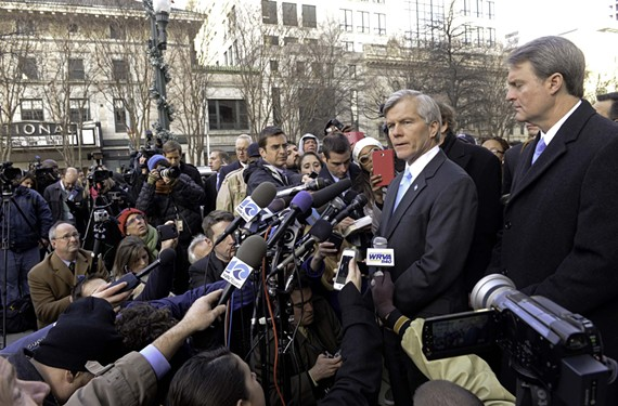 Former Gov. Bob McDonnell holds a news conference in January outside the federal courthouse after his sentencing.