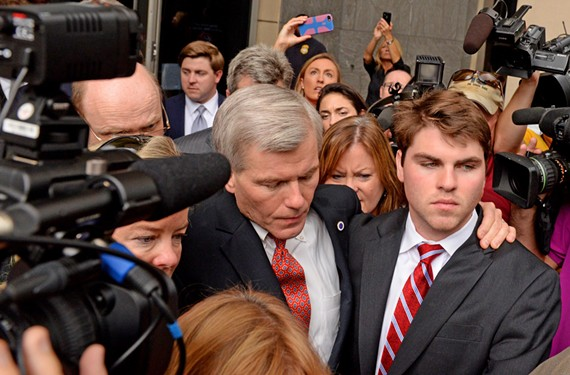 Former Gov. Bob McDonnell leaves the federal courthouse after his conviction Thursday, with his son Bobby by his side.