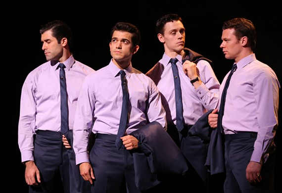(From left) Adam Zelasko (Nick Massi), Hayden Milanes (as Frankie), Jason Kappus (Bob Gaudio), and Nicolas Dromard (Tommy DeVito) are the singing boys from Jersey known to the world as The Four Seasons.